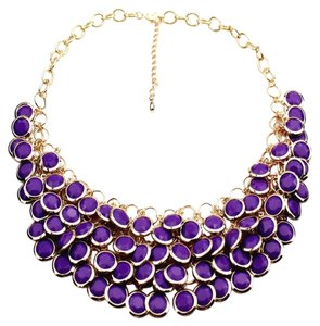 Multi-Layered Beaded Purple Fashion Statement Necklace
