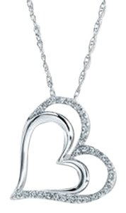 Kay Jewelers DIAMOND HEART NECKLACE 1/4 CT TW ROUND-CUT STERLING SILVER
