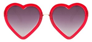 Linda Farrow Luxe Brand New Linda Farrow x Markus Lupfer Red Glitter ML4 Heart Shaped Sunglasses