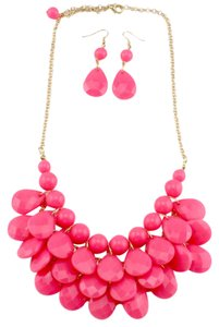 Hot Pink Multi-Layered Bubble Statement Necklace and Earrings