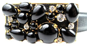 Prada BELT- JEWEL SAFFIANO SMALL BLACK GOLD LEATHER RHINESTONE CRYSTAL