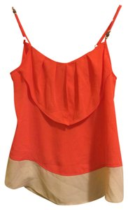 I.N. San Francisco Tank Modern Top Orange and White Color Block