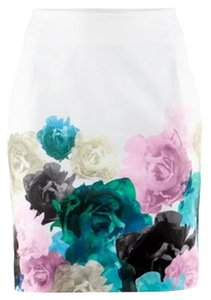 H&M White Black Blue Pink Floral Teal Skirt White Floral