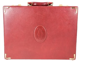 Cartier Vintage Single Handle Locking burgundy Messenger Bag