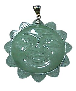 Stunning 14k Solid Yellow Gold Bail Smiling Sun Jade Pendant