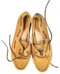 Frye Moccasin Suede All Leather Yellow Flats