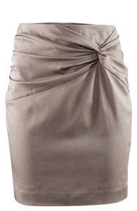 H&M Knot Detail Tan Rouching Skirt Taupe