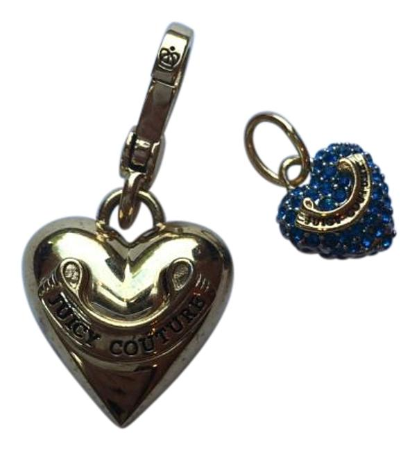 Item - Gold/Blue Pair Of Heart Charm