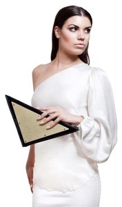 Dareen Hakim Metal Black Leather Gold, Black Clutch