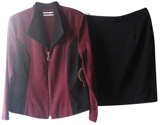 Item - Maroon & Black Dresses Simply Stretch Style 17422 Skirt Suit Size 12 (L)