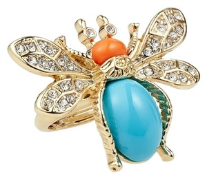 Kenneth Jay Lane Kenneth Jay Lane Turquoise and Coral Head Bee Ring