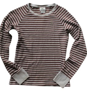 Lacoste Brown Grey Gray Striped Knit Sweater