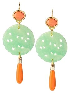 Kenneth Jay Lane Kenneth Jay Lane Carved Jade Coral Drop Wire Earrings