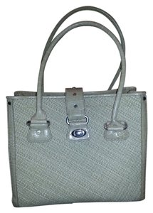 Antonio Melani Silver Hardware Leather Weave Tote in beige