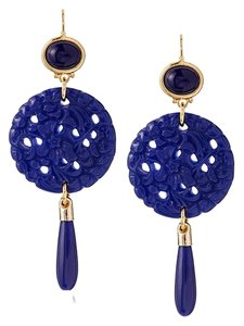 Kenneth Jay Lane Kenneth Jay Lane Carved Lapis Drop Wire Earrings