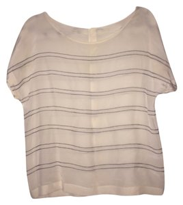 Club Monaco Top White with navy pin stripes