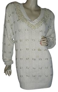 IB Diffusion Unique White Pearl Sweater Tunic