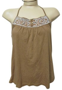 American Eagle Outfitters Brown with White Beads Halter Top