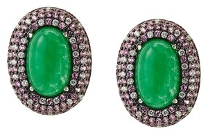 CZ by Kenneth Jay Lane CZ by Kenneth Jay Lane Jade/Multi CZ Button Clip Earrings