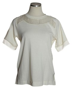 J.Crew Knit Short Sleeve Sheer Yoke T Shirt Ivory