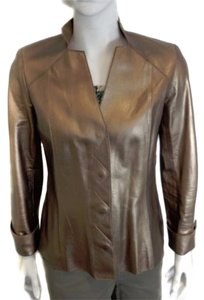 Juliana Collezione Leather Womens Fitted Lamb Skin Metallic Bronze Sz S Product Description Brand: Style: Button-up Leather Color: Jacket