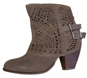 Naughty Monkey Suede Leather Boho Stacked Heel Ankle Tan Boots