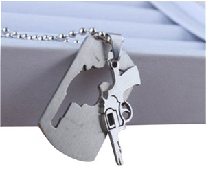 Stainless Steel 2pc Pistol Necklace Unisex Style Free Shipping