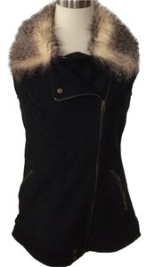 thread and supply Wool Knit Faux Fur Vest