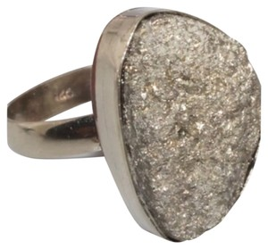 Pyrite gray or silver Druzy one of a kind .925 silver ring