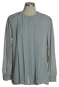 Diane von Furstenberg Sheer Long Sleeve Vintage Top Gray