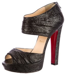 Christian Louboutin Leather Textured Peep Toe Crisscross Strap Red Sole 39.5 9.5 Rushed Stiletto Platform Hidden Platform Ankle Sandal New Black Pumps