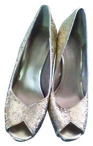 Nine West Gold Glitter Heels Metallic Platforms