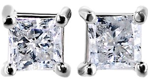 ABC Jewelry Diamond Earrings princess cut Studs .70TCW G/I1 14k White Gold Made In USA