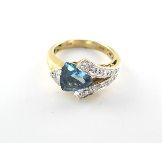 Other 14K Solid Yellow Gold Ring with Diamonds & Blue Topaz