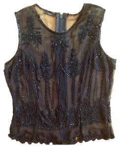 Kenneth Cole Beaded Silk Sheer Top Black