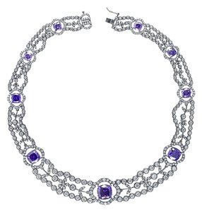 CZ by Kenneth Jay Lane CZ by Kenneth Jay Lane 50 Cttw Multi CZ Russian Cushion Collar Necklace