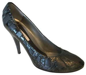 Pollini Dark Steel Grey Leather and Crocodile Pumps