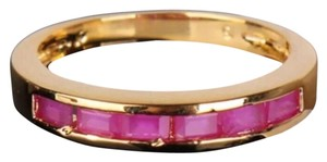 New 24K Yellow Gold Filled Pink Topaz Wedding Band Ring
