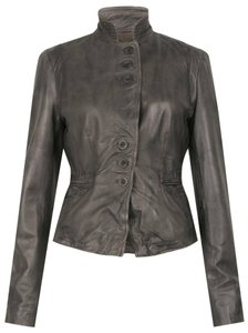 Muubaa Military Blazer Mud Grey Leather Jacket
