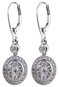 ABC Jewelry Diamond Earrings Drop Euro Wire Natural 1.15TCW G/Si2 14k White Gold Made In USA