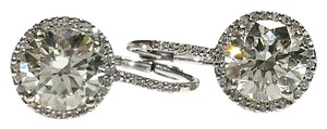 4.59 Carats TW Diamond Halo Earrings in 14 Karat White Gold With E.G.L. Sertified Center Diamonds