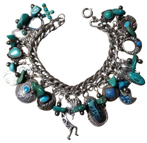 Vintage Native American Indian Sterling Silver Turquoise Charm Bracelet
