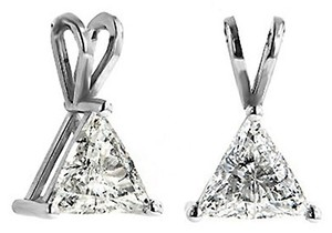ABC Jewelry Diamond Pendant Trillion Solitaire .28TCW I/SI3 14k White Gold Made In USA