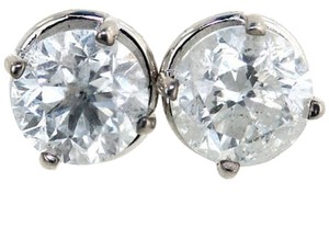ABC Jewelry Diamond Earrings Round Studs All Natural 1.27TCW G/I1 14K White Gold Made In USA