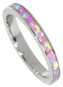 New Fire Opal Solid .925 Sterling Silver Wedding Band Ring