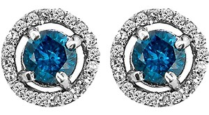 ABC Jewelry Diamond Earrings Blue & White Dia Halo .44TCW Blue/H Si2 10k White Gold Made USA