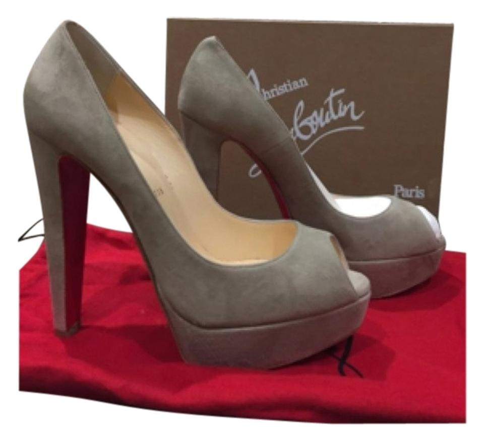 on sale abae1 2f1d7 Christian Louboutin Altanana Stone Suede Pierre Platform Open Toe Gray 38  Pumps Size US 8 Regular (M, B) 38% off retail