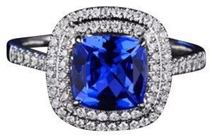 Other New Double Halo Blue Sapphire White GF Ring Sz 8