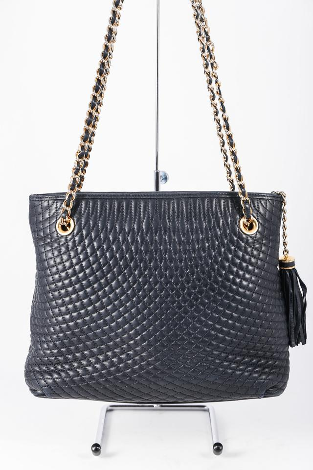 Bally Quilted Chain Link With Tassel Blue Leather Shoulder Bag Tradesy
