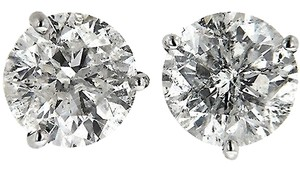 ABC Jewelry Diamond Earrings Stud Brilliant Cut Natural.93TCW H/i2 14k White Gold Made In US